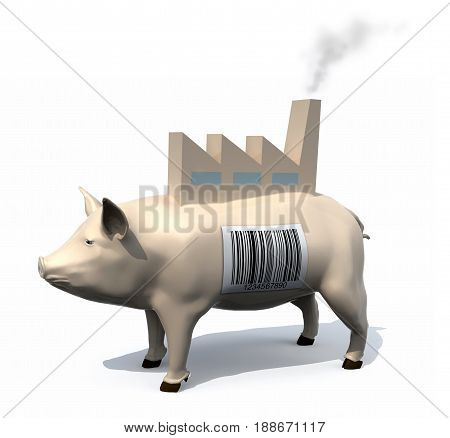 Pig With A Barcode On Skin And A Factory On His Back