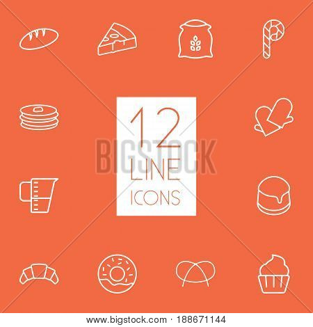 Set Of 12 Pastry Outline Icons Set.Collection Of Croissant, Cupcake, Flour And Other Elements.