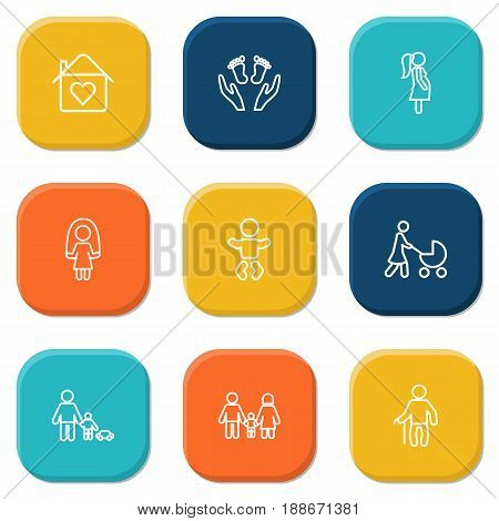 Set Of 9 Family Outline Icons Set.Collection Of Stroller, Home, Pregnant Woman And Other Elements.