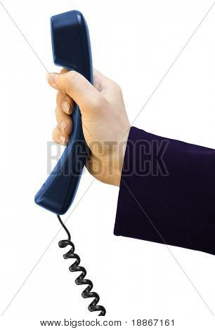One black tube from phone in hand on white background