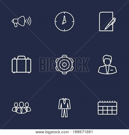 Set Of 9  Outline Icons Set.Collection Of Paper, Suit, Businessman And Other Elements.