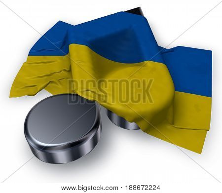 music note symbol and flag of the ukraine - 3d rendering