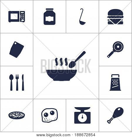 Set Of 13 Cooking Icons Set.Collection Of Sandwich, Broth, Jar Elements.