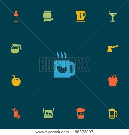 Set Of 13 Drinks Icons Set.Collection Of Lime, Hot, Hotdrink And Other Elements.