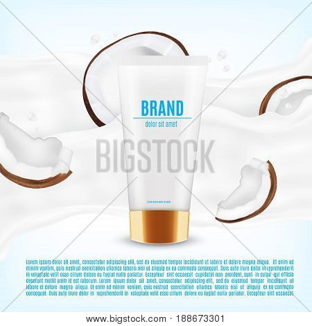 Realistic cosmetic container with coconut slice. Coconut oil concept. Container for cream, lotion and other product. Design for ads or magazine. 3d illustration. EPS10 vector