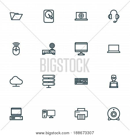 Computer Outline Icons Set. Collection Of Earphones, Display, PC And Other Elements. Also Includes Symbols Such As Wifi, Winchester, Press.