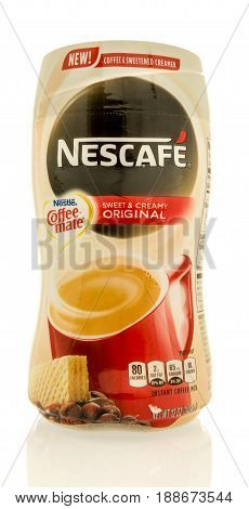 Winneconne WI - 16 May 2017: A package of Nescafe sweet and creamy creamer on an isolated background.