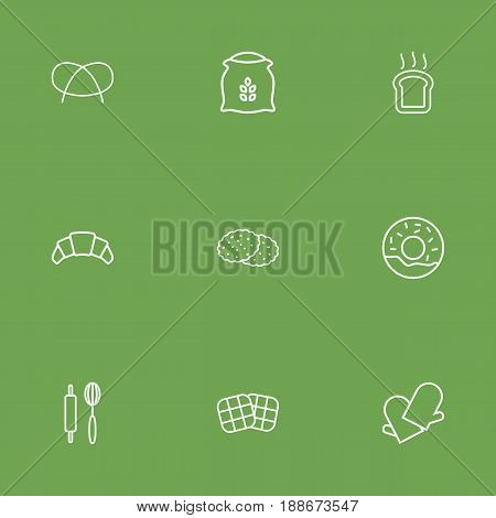 Set Of 9 Pastry Outline Icons Set.Collection Of Waffle, Rolling Pin, Toast And Other Elements.