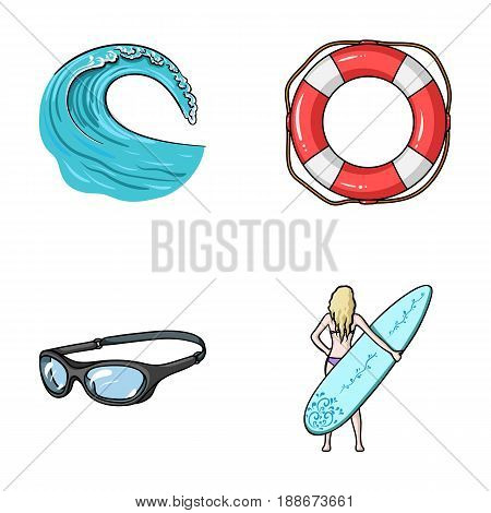 Oncoming wave, life ring, goggles, girl surfing. Surfing set collection icons in cartoon style vector symbol stock illustration .