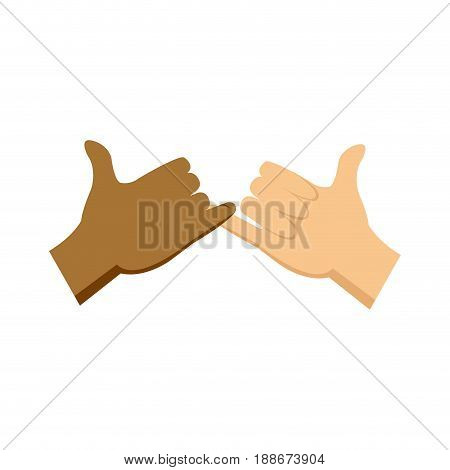 cartoon hands pinky promise gesture image vector illustration