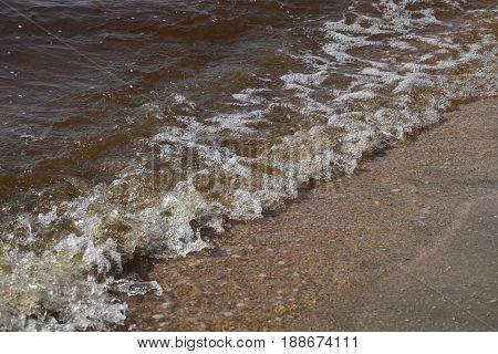 Coastal Sea Waves. Seawater With Seaweed. Coastal Algae. Sea Beach. Brown Water. The Sea Is Brown.