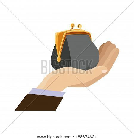 hand business man holding open money purse image vector illustration