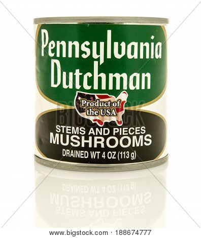 Winneconne WI - 16 May 2017: A can of Pennsylvania Dutchman mushrooms on an isolated background.