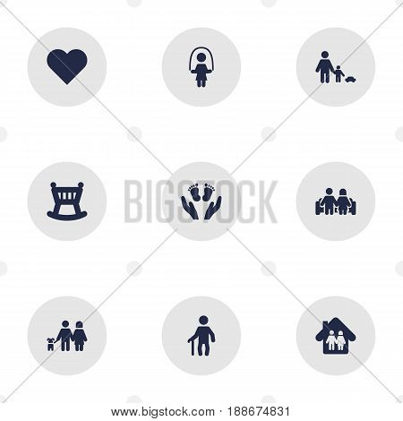 Set Of 9 People Icons Set.Collection Of Married, Family In Home, Look After And Other Elements.