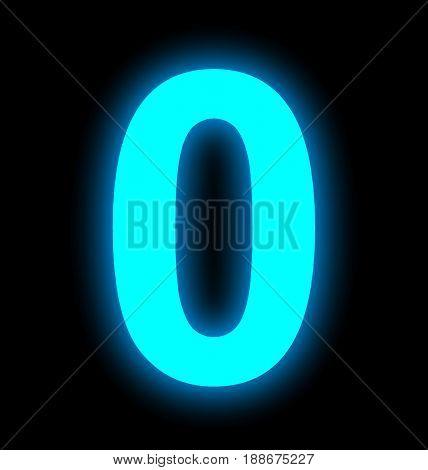 Number 0 Neon Light Full Isolated On Black