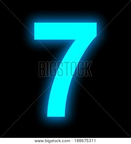 Number 7 Neon Light Full Isolated On Black
