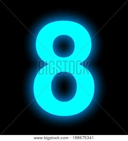 Number 8 Neon Light Full Isolated On Black