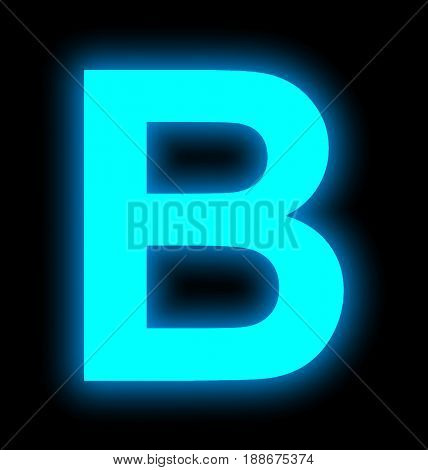 Letter B Neon Light Full Isolated On Black