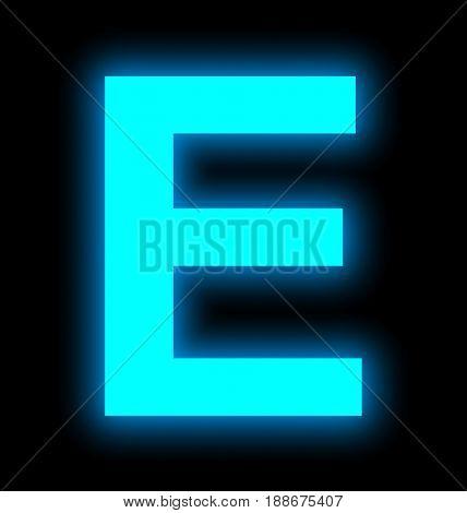 Letter E Neon Light Full Isolated On Black