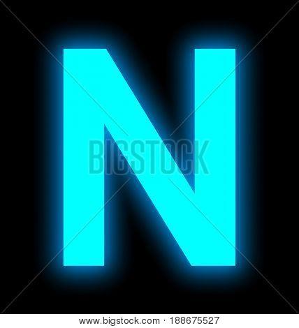 Letter N Neon Light Full Isolated On Black