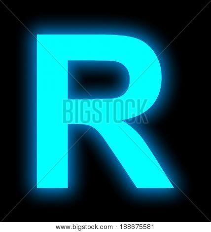 Letter R Neon Light Full Isolated On Black