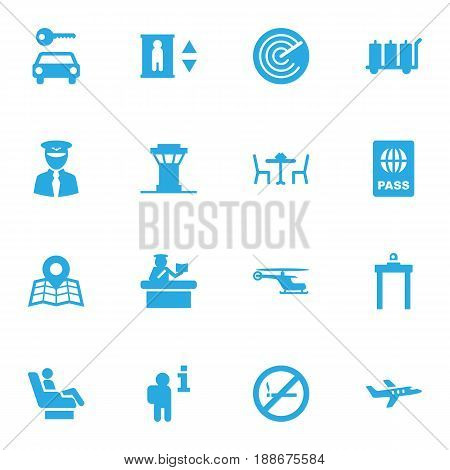 Set Of 16 Airplane Icons Set.Collection Of Aviator, Forbidden, Air Traffic Controller And Other Elements.