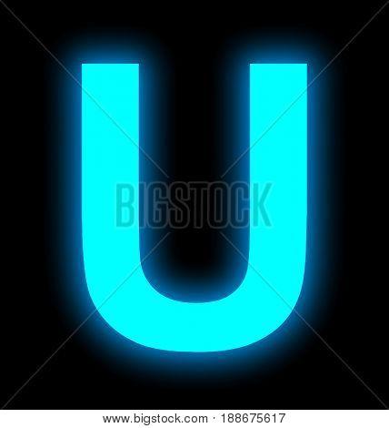 Letter U Neon Light Full Isolated On Black