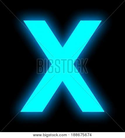 Letter X Neon Light Full Isolated On Black