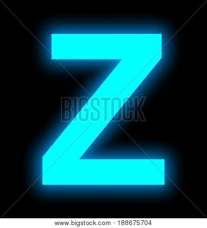 Letter Z Neon Light Full Isolated On Black