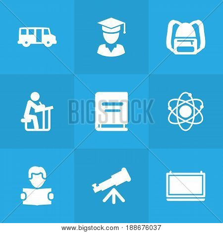 Set Of 9 Education Icons Set.Collection Of School Autobus, Reading, Diplomaed Male And Other Elements.