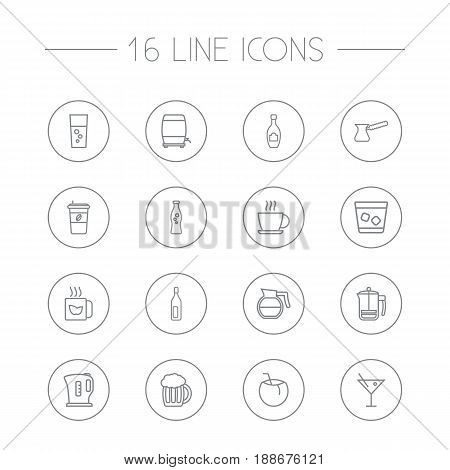Set Of 16 Beverages Outline Icons Set.Collection Of Cappuccino, Soda, Wine Cask And Other Elements.