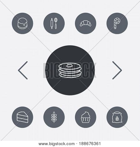 Set Of 9 Pastry Outline Icons Set.Collection Of Cupcake, Rolling Pin, Wheat And Other Elements.