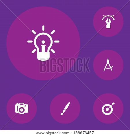 Set Of 6 Creative Icons Set.Collection Of Arrow, Compass, Writing And Other Elements.