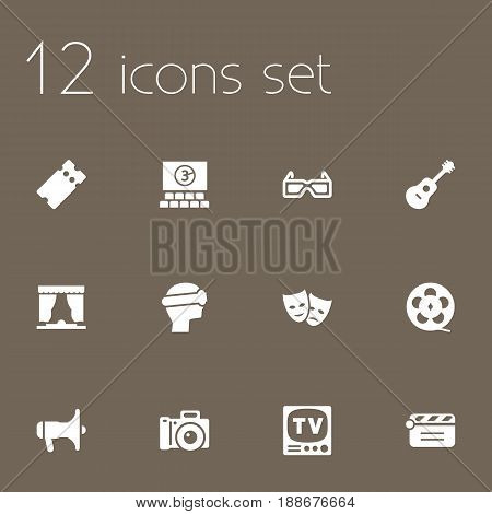 Set Of 12 Entertainment Icons Set.Collection Of Television, Curtain, Photography And Other Elements.