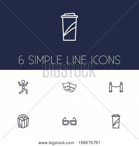 Set Of 6 Amusement Outline Icons Set.Collection Of Dancing Man, Soft Drink, Masks And Other Elements.