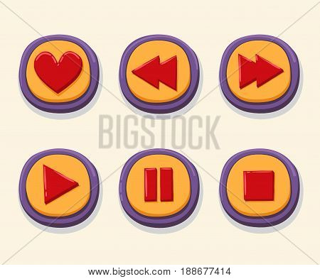Hand drawn 3d web buttons for the player. Like, rewind, play, pause, stop. internet button set color vector illustration