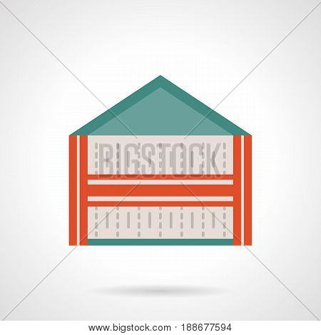 Abstract symbol of trade marquee with red elements. Commercial events and trading concept. Flat color style vector icon.