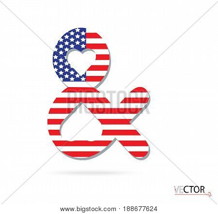 Ampersand icon close-up design American flag. Vector illustration
