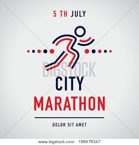 Cool concept for city marathon announcement advertisement poster or logo. Running character with the business text. Vector design.