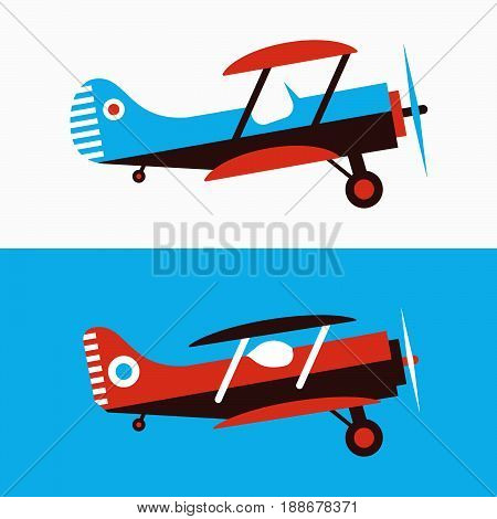 Set of retro planes in different trendy colores. Flat design illustration. Good colors. Very easy to edit.