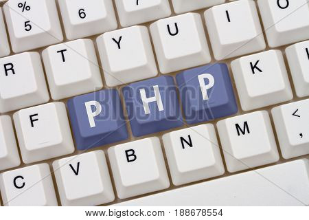 Computer coding with php A close-up of a keyboard with purple highlighted text PHP 3D Illustration