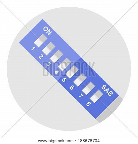 Vector image dip switch on a round background