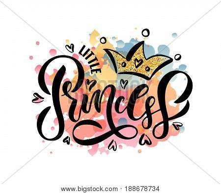 Vector Illustration Of Little Princess Text For Girls Clothes. Inspirational Quote Card/banner Templ