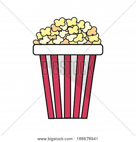 delicious and salty popcorn to eat in the cinema, vector illustration
