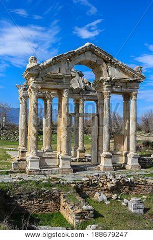 The Tetrapylon, Monumental Gate  In Aphrodisias Turkey
