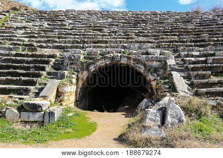 Entrance To Aphrodisias Stadium Ruins  In Aphrodisias Turkey