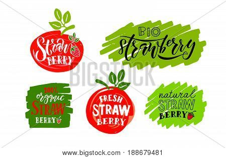 Hand Sketched Strawberry Lettering Typography. Concept For Farmers Market/organic Food/natural Produ