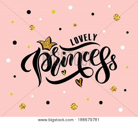 Vector Illustration Of Lovely Princess Text For Girls Clothes. Lovely Princess Badge/tag/icon.