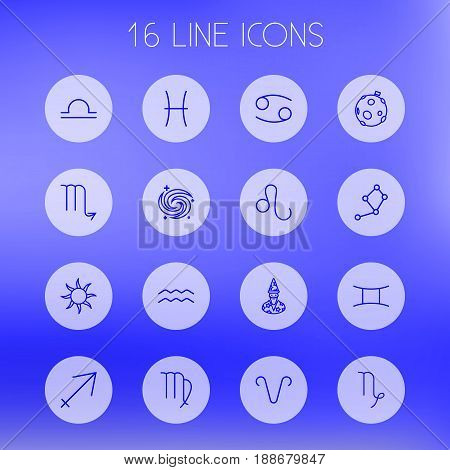 Set Of 16 Astrology Outline Icons Set.Collection Of Aries, Sagittarius, Sun And Other Elements.