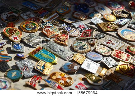 Moscow, Russia - may 06.2017. Trade badge of the times of the USSR